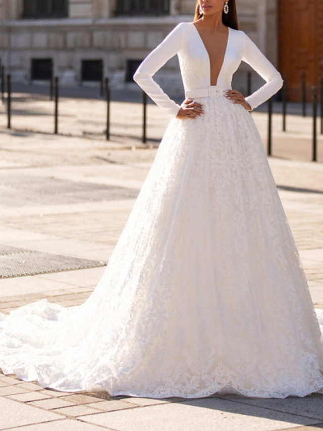 A-Line Wedding Dresses Jewel Neck Court Train Lace Italy Satin Long Sleeve Country Sexy Luxurious with Sashes / Ribbons 2021