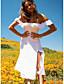 cheap Cocktail Dresses-A-Line Flirty Minimalist Holiday Party Wear Dress Off Shoulder Short Sleeve Tea Length Spandex with Ruffles Split 2021