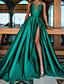 tanie Suknie balowe-Krój A Minimalistyczny Seksowny Studniówka Kolacja oficjalna Sukienka W serek Bez rękawów Tren sweep Satyna z Plisy Rozcięcie 2021