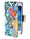 Exquisite Koła i kwiaty wzór PU skórzanym etui z magnetycznym Snap i gniazdo kart dla Samsung Galaxy mini I9190 S4