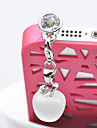 35MM Apple vedhæng Shine Zircon Alloy Kunstig Stone Anti-Støv Plug (tilfældig farve)