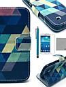coco fun® niebieski puzzle wzór pu skórzane etui z protecter ekranem i rysika do Samsung Galaxy s4 mini i9190