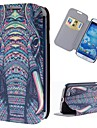 słoń kreskówki wzór pełna przypadek ciała z podstawą pu skórzane etui do Samsung Galaxy s4 i9500