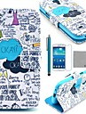 coco fun® Graffiti niebieski wzór pu skórzane etui z protecter ekranem i rysika do Samsung Galaxy s4 mini i9190