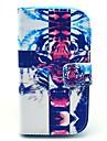 Krzyż tygrys wzór pu leahter plandeka ciała z podstawą i gniazda kart do Samsung Galaxy trendu oraz s7580 / s7562