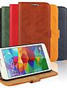 Kılıf Na Samsung Galaxy Samsung Galaxy Etui Portfel Etui na karty Z podpórką Flip Pełne etui Solid Color Skóra PU na S5
