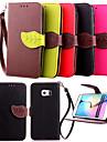 Kılıf Na Samsung Galaxy S6 edge / S6 / S5 Portfel / Etui na karty / Z podpórką Pełne etui Solidne kolory Skóra PU