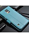 Kılıf Na Samsung Galaxy S5 Portfel / Etui na karty / Z podpórką Pełne etui Jednokolorowe Skóra PU