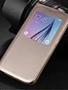 Kılıf Na Samsung Galaxy Samsung Galaxy Etui Z okienkiem Flip Futerał Solid Color Sztuczna skóra na S6