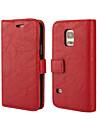 Kılıf Na Samsung Galaxy Samsung Galaxy Etui Portfel / Etui na karty / Z podpórką Pełne etui Solidne kolory Skóra PU na S5 Mini