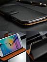 Kılıf Na Samsung Galaxy S7 Edge / S7 / S6 edge plus Etui na karty / Flip Pełne etui Solidne kolory Prawdziwa skóra
