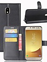 Kılıf Na Samsung Galaxy J7 (2017) / J7 (2016) / J7 Portfel / Etui na karty / Flip Pełne etui Solidne kolory Twardość Skóra PU