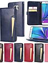 Kılıf Na Samsung Galaxy Note 5 Portfel / Etui na karty / Z podpórką Pełne etui Solidne kolory Twardość Skóra PU