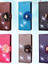 Kılıf Na Samsung Galaxy S7 Edge / S7 / S5 Mini Portfel / Etui na karty / Kryształ górski Pełne etui Solidne kolory / Kwiat Twardość Skóra PU