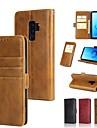 Kılıf Na Samsung Galaxy S9 / S9 Plus / S8 Plus Portfel / Etui na karty / Z podpórką Pełne etui Solidne kolory Twardość Prawdziwa skóra