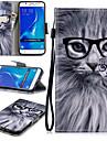 Kılıf Na Samsung Galaxy J7 (2016) Portfel / Etui na karty / Odporny na wstrząsy Pełne etui Kot Twardość Skóra PU