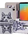 Kılıf Na Samsung Galaxy J8 (2018) / J7 (2017) / J7 (2018) Portfel / Etui na karty / Z podpórką Pełne etui Kot Twardość Skóra PU