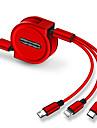 Micro USB / Oświetlenie / Type-c Kable 1.0m (3 stopy) Rozwijany / 1 do 3 / Szybka opłata TPE / ABS + PC Adapter kabla USB Na iPad / Samsung / Huawei