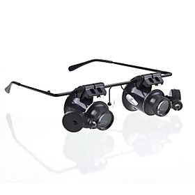 20X LED Lighting Magnifier Glasses Magnifying Reading Aid Watch Repair Plastic for 1 Microscope