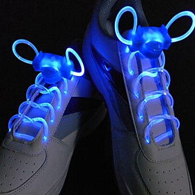1 Pair Fashion LED Luminous Shoelaces Flash Party Glowing Strings Athletic Sport Sneakers Flat Shoes Laces Blue
