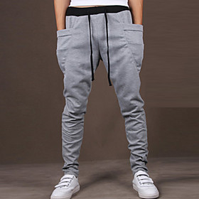 Men's Active Sport Casual Sports Slim Cotton Active Relaxed Sweatpants Pants Solid Colored Artistic Style Wine Black Purple M L XL / Weekend