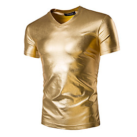Men's Daily T-shirt Solid Colored Short Sleeve Slim Tops Basic Exaggerated V Neck Black Gold Silver / Sports / Summer