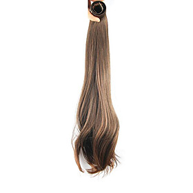 20 inch Honey Brown Clip In Straight Ponytails Elastic Wrap Around Synthetic Hair Piece Hair Extension