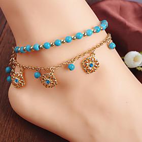 Anklet Ladies Boho Bohemian Women's Body Jewelry For Daily Casual Beaded Tassel Fringe Alloy Flower Gold 1pc