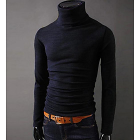 Men's Daily T-shirt Solid Colored Long Sleeve Slim Tops Basic Turtleneck Wine Black Purple / Sports