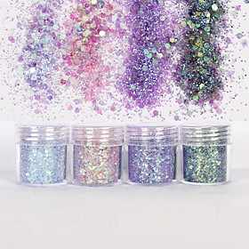 10ml Holographic Mermaid Dreams Chunky Glitter Sequins Iridescent Flakes Hexagon Tips Mixed Paillette Face Eyes Body Hair Nail Art