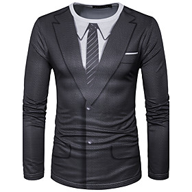Men's Daily T-shirt Graphic Simulation Print Long Sleeve Tops Streetwear Round Neck Black / Sports