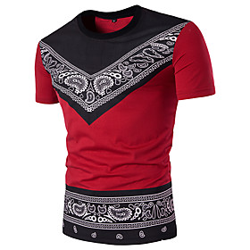 Men's Daily T-shirt Paisley Graphic Tribal Short Sleeve Slim Tops Cotton Streetwear Round Neck White Black Red / Sports