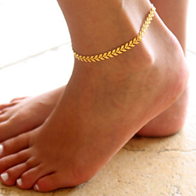 Anklet feet jewelry Ladies Simple Fashion Women's Body Jewelry For Daily Casual Classic Thick Chain Alloy Leaf Gold Silver 1pc