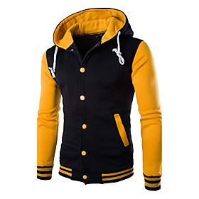 Men's Daily Hoodie Zip Up Hoodie Color Block Hooded Active Hoodies Sweatshirts  Long Sleeve White Blue Red / Winter