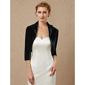 3/4 Length Sleeve Shrugs Velvet Wedding / Party / Evening Women's Wrap / Bolero With Draping / Solid