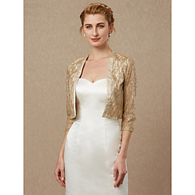 3/4 Length Sleeve Shrugs Sequined Wedding / Party / Evening Women's Wrap With