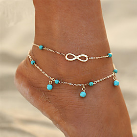 Anklet feet jewelry Ladies Double Layered Simple Women's Body Jewelry For Gift Going out Double Turquoise Alloy Infinity Gold Silver 1pc
