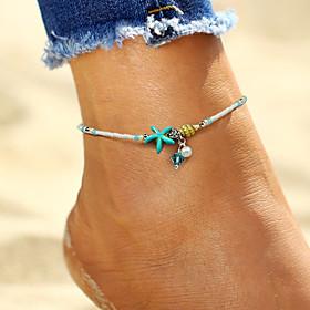 Anklet feet jewelry Ladies Boho Bohemian Women's Body Jewelry For Holiday Bikini Imitation Pearl Alloy Starfish Shell White