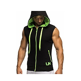 Men's Daily Hoodies  Sweatshirts Solid Colored Basic Sleeveless Slim Tops Cotton Active Hooded White Red Green / Sports / Summer