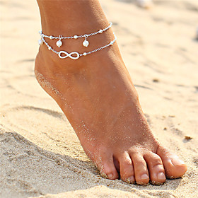 Anklet feet jewelry Ladies Double Layered Bohemian Women's Body Jewelry For Evening Party Beach Layered Twisted Double Pearl Alloy Infinity Gold Silver 1pc
