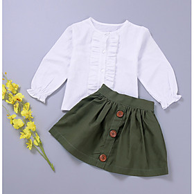 Toddler Girls' Clothing Set Solid Colored Long Sleeve Cotton Army Green Season:Spring; Fabric:Cotton; Sleeve Length:Long Sleeve; Gender:Girls'; Note:Wash it before you wear; Kids Apparel:Clothing Set; Age Group:Toddler; Pattern:Solid Colored; Front page:FF; Net Weight:0.000; Listing Date:04/02/2018; Bust:; Length [Bottom]:; Length [Top]:; Waist:; Base Categories:Kids' Clothing Sets,Kids' Clothing,Clothing,Apparel  Accessories