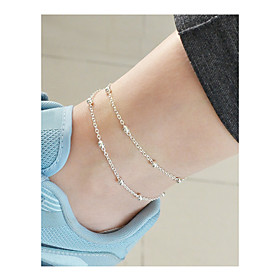 Anklet feet jewelry Dainty Ladies Double Layered Women's Body Jewelry For Daily Holiday Beaded Double Alloy Gold Silver