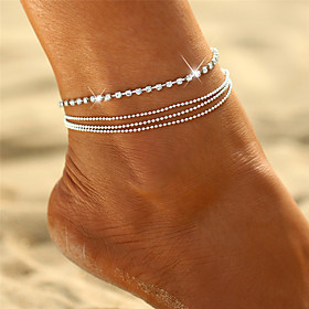 Anklet feet jewelry Dainty Ladies Boho Women's Body Jewelry For Gift Going out Layered Stacking Stackable Crystal Alloy Silver
