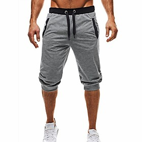 Men's Basic / Street chic Daily Sports Holiday Chinos / Shorts wfh Sweatpants - Color Block Black  Gray, Patchwork / Drawstring Summer Fall Black Dark Gray Lig