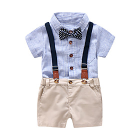 Baby Boys' Active / Basic Daily / Birthday Blue  White Solid Colored / Striped / Color Block Lace up Short Sleeve Regular Regular Cotton Clothing Set Blue / To