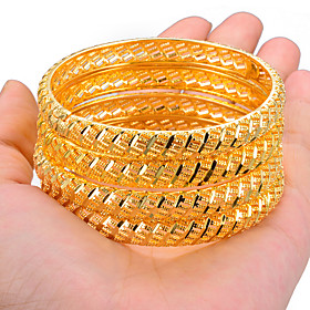 4pcs Women's Bracelet Bangles Cuff Bracelet Sculpture Engraved Ladies Wedding Ethnic Africa Dubai Gold Plated Bracelet Jewelry Yellow / Gold For Party Gift