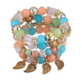 4pcs Women's Synthetic Tanzanite Bead Bracelet Layered Stack Leaf Ladies Vintage Fashion Multi Layer Acrylic Bracelet Jewelry Red / Blue / Pink For Ceremony Sc