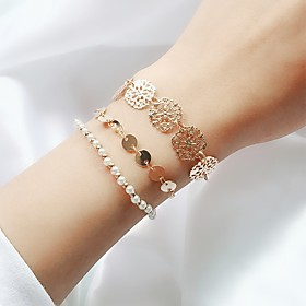 3pcs Women's Chain Bracelet Layered Floral Theme Ladies Simple Trendy Fashion Imitation Pearl Bracelet Jewelry Gold For Daily Going out
