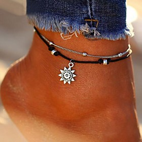 Anklet feet jewelry Ladies Stylish Classic Women's Body Jewelry For Daily Bikini Layered Leather Alloy Sun Silver 1pc