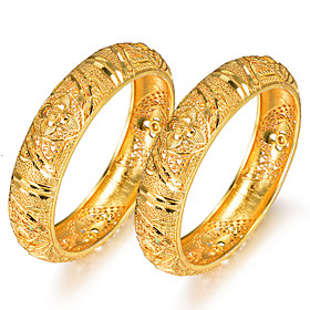 2pcs Women's Bracelet Bangles Cuff Bracelet Classic Hollow Out Creative Ladies Luxury Ethnic Gold Plated Bracelet Jewelry Yellow For Party Gift